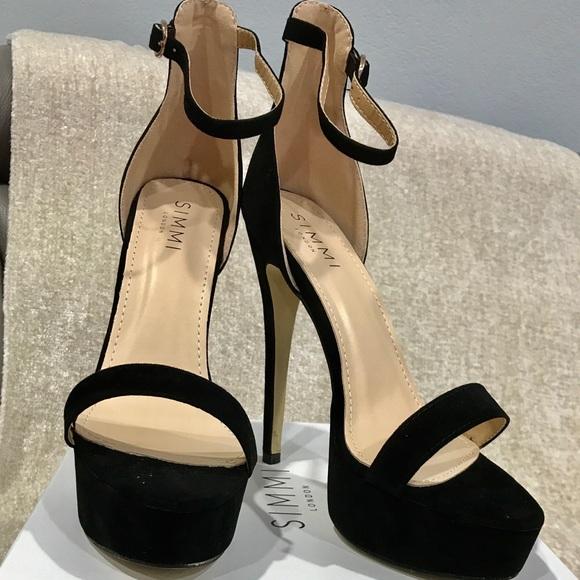 Simmi London Shoes Black Suede Platform Heels 9imported